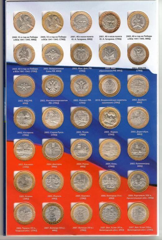 юбилейный монеты 10 рублей список фото